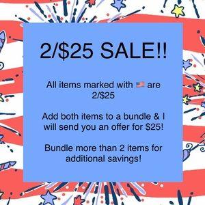 2/$25 SALE!!